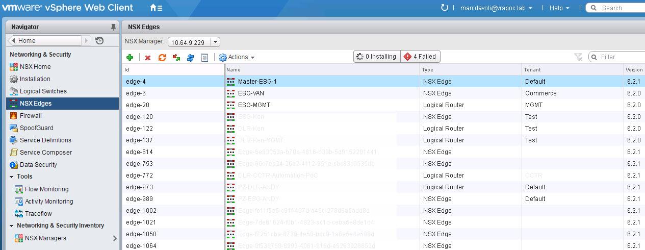 NSX Edges tab